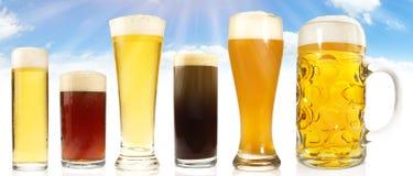 Diversas clases de la cerveza en el cielo y el fondo de Sun fotografía de archivo libre de regalías