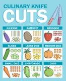 Diversas clases de técnicas del corte del cuchillo Stock de ilustración