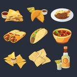 Diversas comidas mexicanas en estilo de la historieta Cocina tradicional Pollo, tacos y ejemplos del vector del tequila Imágenes de archivo libres de regalías