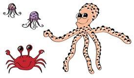 Diversas criaturas del mar Fotos de archivo libres de regalías