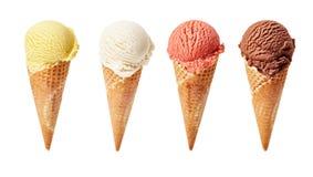 Diversas cucharadas del helado en el fondo blanco Foto de archivo libre de regalías