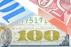 Diversas cuentas de dinero Dólar, franco, libra Imagen de archivo libre de regalías