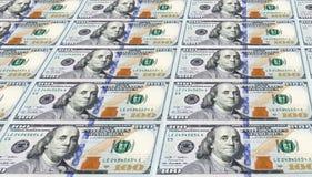 Diversas das notas de dólar recentemente projetadas dos E.U. cem. Foto de Stock