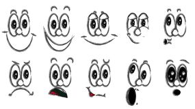 Diversas emociones blancos y negros: alegría, sonrisa, cólera, placer, descontento, alegría, diversión, sorpresa, placer ilustración del vector