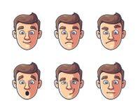 Diversas emociones de un car?cter la cara del hombre en color ilustración del vector