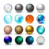 Diversas esferas Materiales y elementos del diseño stock de ilustración