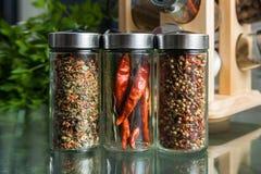 Diversas especias en la cocina Imágenes de archivo libres de regalías