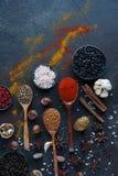 Diversas especias indias en cucharas y cuencos y nueces de madera del metal en la tabla de piedra oscura Especias coloridas, visi Fotos de archivo