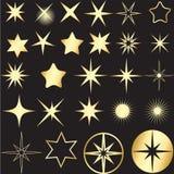 Diversas estrellas de oro fijadas stock de ilustración