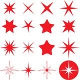 Diversas estrellas monocromáticas fijadas stock de ilustración