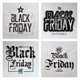Diversas etiquetas engomadas determinadas de Black Friday aisladas Fotos de archivo