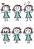 Diversas expresiones de una muchacha de la historieta Fotografía de archivo