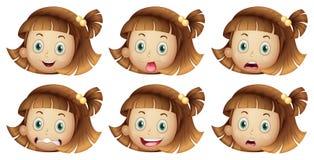 Diversas expresiones faciales de una muchacha Fotografía de archivo