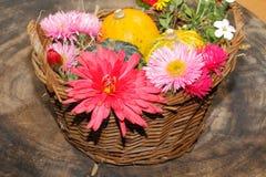 Diversas flores del jardín de las flores y calabazas ornamentales en una cesta Foto de archivo