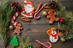Diversas formas de las galletas de la Navidad del pan de jengibre, salvado del árbol de abeto Fotos de archivo