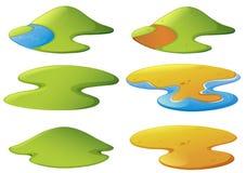 Diversas formas de montañas y de playas ilustración del vector