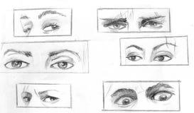 Diversas formas determinadas y expresiones que implican ojos Imagen de archivo