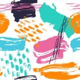 Diversas formas dibujadas mano abstracta cepillan muestra inconsútil del modelo de los movimientos stock de ilustración