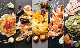 Diversas fotos de las pastas italianas Fotografía de archivo