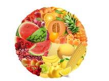 Diversas frutas con diversos texturas y colores Fotografía de archivo libre de regalías
