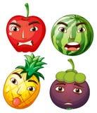 Diversas frutas con emociones faciales stock de ilustración