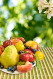 Diversas frutas en una tabla Imagen de archivo