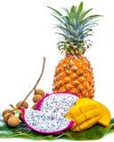 Diversas frutas tropicales en hoja de palma verde Foto de archivo libre de regalías