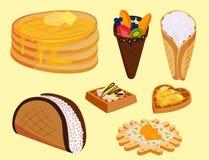 Diversas galletas de la oblea se enrollan vector curruscante delicioso de la comida de la panadería del postre poner crema del bo Imagen de archivo