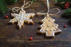 Diversas galletas para los niños con símbolos de la Navidad en su ENV Imagen de archivo libre de regalías