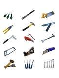 Diversas herramientas de la mano aisladas en un fondo blanco Imagen de archivo