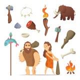 Diversas herramientas a partir del período prehistórico Viejo primitivo libre illustration