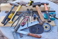 Diversas herramientas viejas Foto de archivo libre de regalías