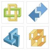 Diversas ilusiones ópticas de objetos imposibles Imágenes de archivo libres de regalías