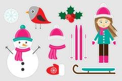 Diversas imágenes coloridas de la Navidad del invierno para los niños, juego para los niños, actividad preescolar, sistema de la  stock de ilustración