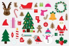 Diversas imágenes coloridas de la Navidad para los niños, juego para los niños, actividad preescolar, sistema de etiquetas engoma ilustración del vector