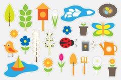 Diversas imágenes coloridas de la primavera y del jardín para los niños, juego para los niños, actividad preescolar, sistema de l ilustración del vector