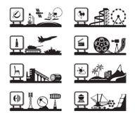 Diversas industrias con los logotipos Imágenes de archivo libres de regalías