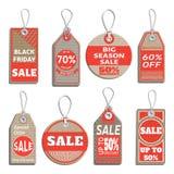 Diversas insignias y etiquetas en el tema de la venta, descuento, venta al por menor Fotografía de archivo