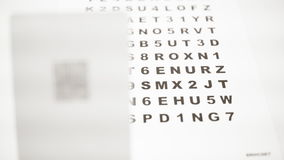 Diversas letras de concentración del frente y de la parte posterior para la inspección óptica almacen de metraje de vídeo