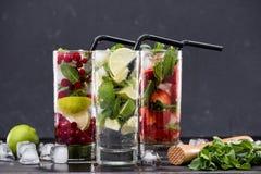 Diversas limonadas frescas en vidrios con los cubos de hielo Fotos de archivo libres de regalías