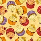 Diversas magdalenas deliciosas coloridas ilustración del vector