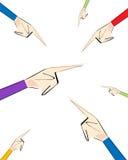 Diversas manos que señalan los fingeres en diversas direcciones Concepto de diversa opinión o irresponsabilidad Foto de archivo