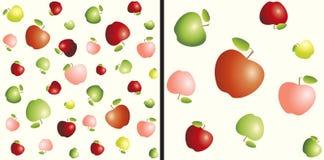 Diversas manzanas de los tamaños rojos, amarillas y verdes Modelo inconsútil Imágenes de archivo libres de regalías