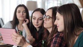 Diversas meninas comem a pizza e bebem a cerveja das garrafas no restaurante Riso da conversa e para comemorar video estoque