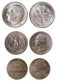 Diversas monedas americanas viejas Foto de archivo libre de regalías