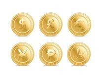 Diversas monedas del dinero en circulación ilustración del vector