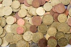 Diversas monedas euro de la moneda Imágenes de archivo libres de regalías