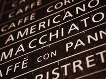 Diversas muestras de los cafés fotografía de archivo