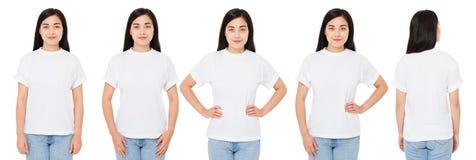 Diversas mulheres asiáticas, coreanas no t-shirt branco isolado, camisa da menina t da porcelana, vistas traseiras dianteiras fotos de stock