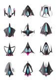 Diversas naves espaciales en vuelo Imagenes de archivo